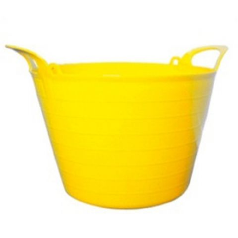 Round Plastic Carry Storage Tubs - Yellow 5 Sizes